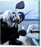 Portrait  Of Fishing Reel On Boat While Canvas Print