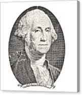 Portrait Of George Washington On White Background Canvas Print