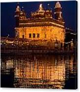 Portrait Of Golden Temple At Night Canvas Print