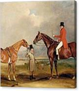 Portrait Of John Drummond On A Hunter With A Groom Holding His Second Horse Canvas Print