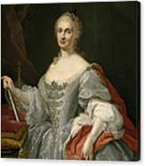 Portrait Of Maria Amalia Of Saxony As Queen Of Naples Overlooking The Neapolitan Crown Canvas Print