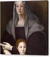 Portrait Of Maria Salviati De' Medici With Giulia De' Medici Canvas Print