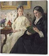 Portrait Of The Artist S Mother And Sister Canvas Print