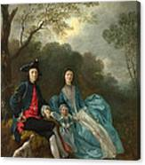 Portrait Of The Artist With His Wife And Daughter Canvas Print