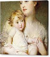 Portrait Of The Duchess Of St Albans With Her Son Canvas Print