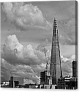 Portrait Of The Shard Black And White Version Canvas Print