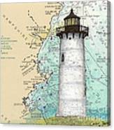 Portsmouth Harbor Lighthouse Nh Nautical Chart Map Art Canvas Print