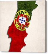 Portugal Map Art With Flag Design Canvas Print