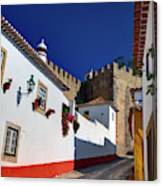 Portugal, Obidos, Street Of The Old Canvas Print