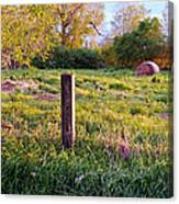 Post And Haybale Canvas Print