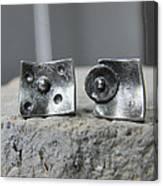 Post Stud Silver Unisex Earrings Canvas Print
