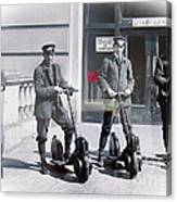 Postal Workers On Scooters Canvas Print
