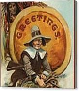 Postcard Of Pilgrim Plucking A Turkey Canvas Print