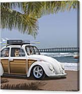 Postcards From Otis - Beach Corgis Canvas Print