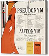 Poster For 'the Pseudonym And Autonym Libraries' Canvas Print