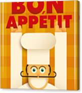 Poster With A Comic Chef. Vector Canvas Print