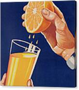 Poster With A Glass Of Orange Juice Canvas Print