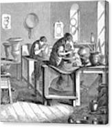 Potters Working With The Wheel Canvas Print