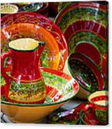 Pottery For Sale At A Market Stall Canvas Print
