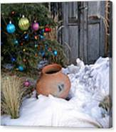 Pottery In Snow At Xmas Canvas Print