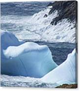 Pounding Surf With Icebergs Canvas Print