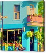 Powder Blue Corner Cafe Elses Pub Rue Roy  Montreal Sunny Summer Cafe Scene Carole Spandau Canvas Print