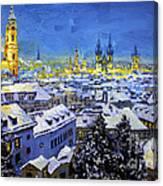 Prague After Snow Fall Canvas Print