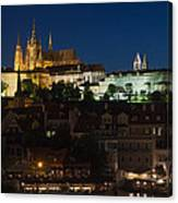 Prague  Castle At Night Canvas Print