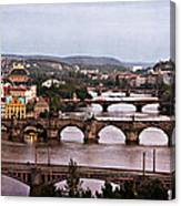 Prague Cityscape - Texture Canvas Print