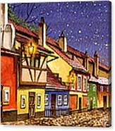 Prague Golden Line Street  Canvas Print