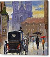 Prague Old Town Square Old Cab Canvas Print