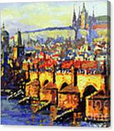Prague Panorama Charles Bridge Canvas Print