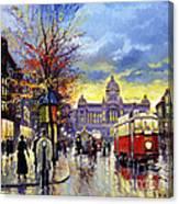 Prague Vaclav Square Old Tram Imitation By Cortez Canvas Print