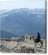 Prairie Reef View With Horse And Rider Canvas Print