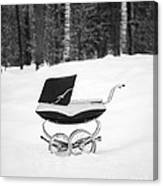 Pram In The Snow Canvas Print