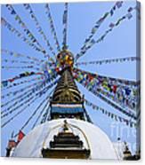 Prayer Flags And Stupa In Kathmandu Canvas Print
