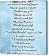 Prayer Of Saint Francis Canvas Print