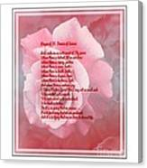 Prayer Of St. Francis And Pink Rose 2 Canvas Print