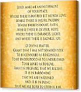 Prayer Of St Francis - Pope Francis Prayer - Gold Parchment Canvas Print