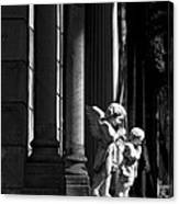 Praying Angle - Sucre Cemetery In Black And White Canvas Print