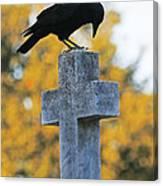 Praying Crow On Cross Canvas Print