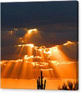 Pre Sunset Sky With Saguaro Canvas Print