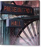 Preservation Hall Sign Canvas Print