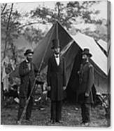 President Lincoln At Antietam Canvas Print
