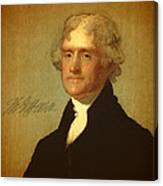 President Thomas Jefferson Portrait And Signature Canvas Print
