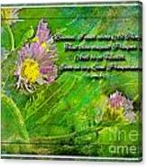 Pretty Little Weeds With Photoart And Verse Canvas Print