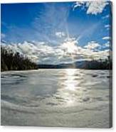Price Lake Frozen Over During Winter Months In North Carolina Canvas Print