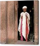 Priest At Ancient Rock Hewn Churches Of Lalibela Ethiopia Canvas Print