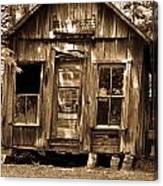 Primative Post Office Cabin In Sepia Canvas Print