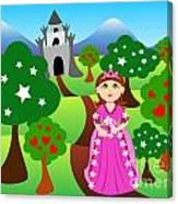 Princess And Castle Landscape Canvas Print